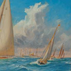 Harold Wyllie A rare painting of 1930 America s Cup racing off Newport signed Harold Wyllie  - 1638019