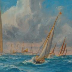 Harold Wyllie A rare painting of 1930 America s Cup racing off Newport signed Harold Wyllie  - 1638023