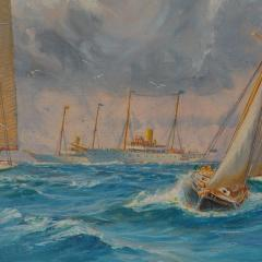 Harold Wyllie A rare painting of 1930 America s Cup racing off Newport signed Harold Wyllie  - 1638024