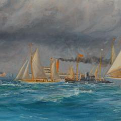 Harold Wyllie A rare painting of 1930 America s Cup racing off Newport signed Harold Wyllie  - 1638025