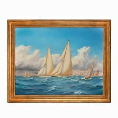 Harold Wyllie A rare painting of 1930 America s Cup racing off Newport signed Harold Wyllie  - 1638511