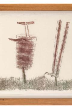 Harry Bertoia Harry Bertoia Framed Monoprint on Rice Paper USA 1960s - 1631284