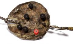 Harry Bertoia Harry Bertoia Patinated Silver Brooch with Coral and Ebony USA 1943 - 636919