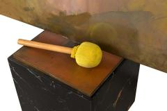 Harry Bertoia Harry Bertoia Silicon Bronze Brass Hollow Gong on Wood Base with Mallet 1972 - 1835493