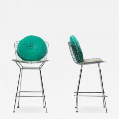 Harry Bertoia Harry Bertoia for Knoll Bar Stools in Custom Italian Parker Hotel Style Cushions - 2139156