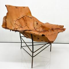 Harry Bertoia Mid Century Modern Brutalist Lounge Chaise Leather Chair Iron Frame Tripod - 1949026