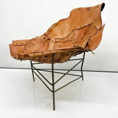 Harry Bertoia Mid Century Modern Brutalist Lounge Chaise Leather Chair Iron Frame Tripod - 1949047