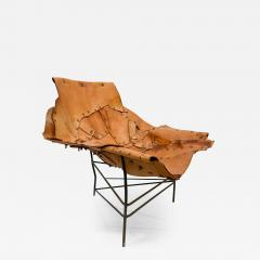 Harry Bertoia Mid Century Modern Brutalist Lounge Chaise Leather Chair Iron Frame Tripod - 1953023