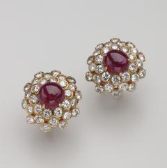 Harry Winston HARRY WINSTON DIAMOND RUBY 18KT EARRINGS - 1519516
