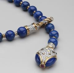 Harry Winston Harry Winston Lapis Diamond 18kt White and Yellow Gold Y Necklace - 1519512
