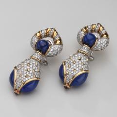 Harry Winston Harry Winston Lapis Diamond and Ruby 18kt White Yellow Gold Earrings - 1519578