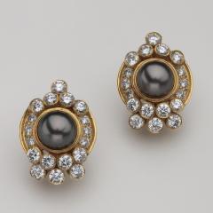 Harry Winston Unique Harry Winston Tahitian South Sea Pearls Diamond Necklace Earrings Set - 1519485