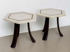 Harvey Probber A Pair of Harvey Probber Terrazzo and Dark Walnut Tables - 742993