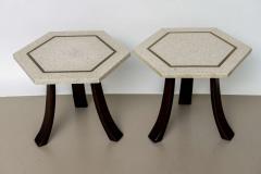 Harvey Probber A Pair of Harvey Probber Terrazzo and Dark Walnut Tables - 742994