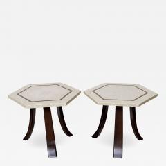 Harvey Probber A Pair of Harvey Probber Terrazzo and Dark Walnut Tables - 749128