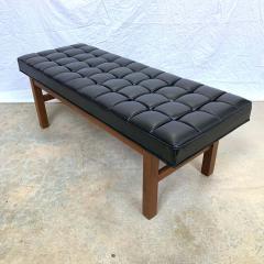 Harvey Probber Harvey Probber Black Vinyl Biscuit Tufted Walnut Bench or Ottoman USA 1960s - 1610393