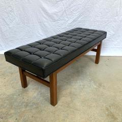 Harvey Probber Harvey Probber Black Vinyl Biscuit Tufted Walnut Bench or Ottoman USA 1960s - 1610396