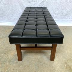 Harvey Probber Harvey Probber Black Vinyl Biscuit Tufted Walnut Bench or Ottoman USA 1960s - 1610397