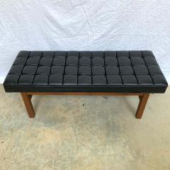 Harvey Probber Harvey Probber Black Vinyl Biscuit Tufted Walnut Bench or Ottoman USA 1960s - 1610400