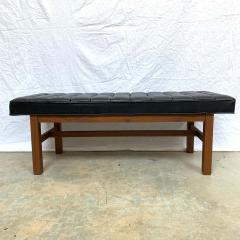 Harvey Probber Harvey Probber Black Vinyl Biscuit Tufted Walnut Bench or Ottoman USA 1960s - 1610402