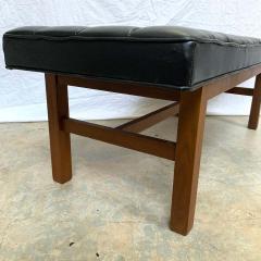 Harvey Probber Harvey Probber Black Vinyl Biscuit Tufted Walnut Bench or Ottoman USA 1960s - 1610404