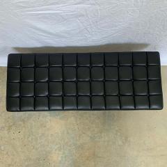 Harvey Probber Harvey Probber Black Vinyl Biscuit Tufted Walnut Bench or Ottoman USA 1960s - 1610405