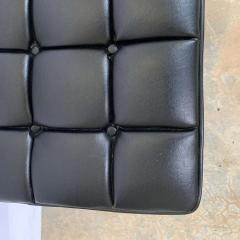 Harvey Probber Harvey Probber Black Vinyl Biscuit Tufted Walnut Bench or Ottoman USA 1960s - 1610406
