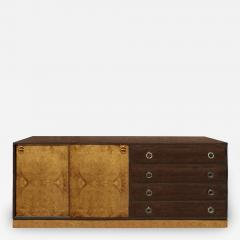 Harvey Probber Harvey Probber Credenza Chest with Carpathian Elm Doors and Base 1950s Signed  - 2072693