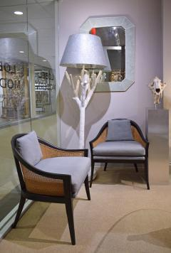Harvey Probber Harvey Probber Elegant Pair of Lounge Chairs with Caned Backs and Sides 1950s - 1272740