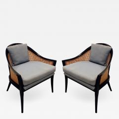 Harvey Probber Harvey Probber Elegant Pair of Lounge Chairs with Caned Backs and Sides 1950s - 1273526