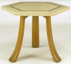Harvey Probber Harvey Probber Hexagonal Mahogany and Terrazzo Marble Side Table - 277215