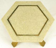Harvey Probber Harvey Probber Hexagonal Mahogany and Terrazzo Marble Side Table - 277217