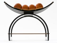 Harvey Probber Harvey Probber Knights Bench in Mahogany Brass and Leather Signed 1950s - 774375