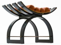 Harvey Probber Harvey Probber Knights Bench in Mahogany Brass and Leather Signed 1950s - 774376