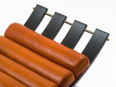 Harvey Probber Harvey Probber Knights Bench in Mahogany Brass and Leather Signed 1950s - 774378