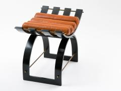 Harvey Probber Harvey Probber Knights Bench in Mahogany Brass and Leather Signed 1950s - 774382
