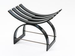 Harvey Probber Harvey Probber Knights Bench in Mahogany Brass and Leather Signed 1950s - 774383