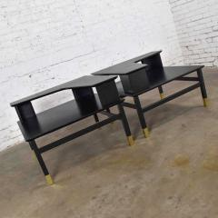 Harvey Probber MCM corner step tables a pair black with brass sabots style of harvey probber - 1780962
