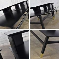Harvey Probber MCM corner step tables a pair black with brass sabots style of harvey probber - 1780963