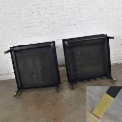 Harvey Probber MCM corner step tables a pair black with brass sabots style of harvey probber - 1780964