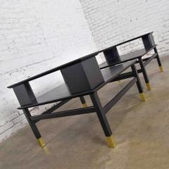 Harvey Probber MCM corner step tables a pair black with brass sabots style of harvey probber - 1780965
