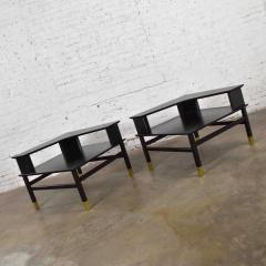 Harvey Probber MCM corner step tables a pair black with brass sabots style of harvey probber - 1780985