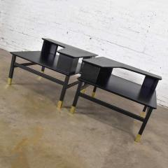 Harvey Probber MCM corner step tables a pair black with brass sabots style of harvey probber - 1780991
