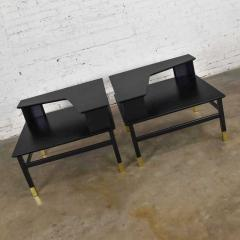 Harvey Probber MCM corner step tables a pair black with brass sabots style of harvey probber - 1780993