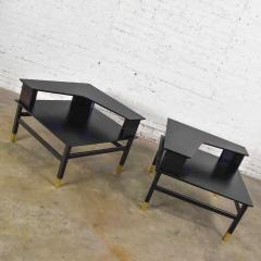 Harvey Probber MCM corner step tables a pair black with brass sabots style of harvey probber - 1780997
