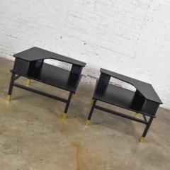 Harvey Probber MCM corner step tables a pair black with brass sabots style of harvey probber - 1781019