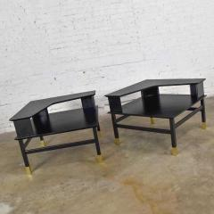 Harvey Probber MCM corner step tables a pair black with brass sabots style of harvey probber - 1781021