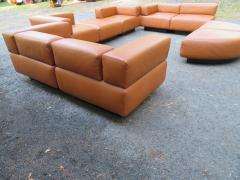 Harvey Probber Magnificent 9 Piece Harvey Probber Caramel Brown Leather Cubo Sectional Sofa - 1138709