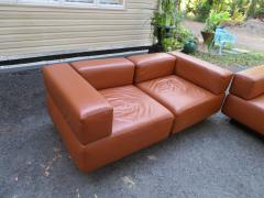 Harvey Probber Magnificent 9 Piece Harvey Probber Caramel Brown Leather Cubo Sectional Sofa - 1138711
