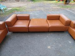 Harvey Probber Magnificent 9 Piece Harvey Probber Caramel Brown Leather Cubo Sectional Sofa - 1138712
